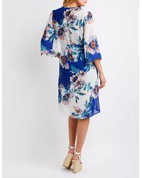 Charlotte Russe - Blue Floral Tie Front Kimono - Lyst