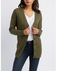 Charlotte Russe - Green Cable Knit Open-front Cardigan - Lyst