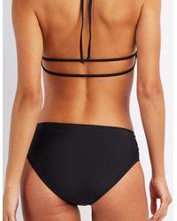 Charlotte Russe - Black Strappy Caged Bikini Bottoms - Lyst