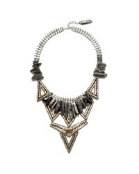 Suzanna Dai | Metallic Brasilia Statement Necklace, Silver | Lyst