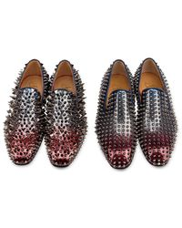 Christian Louboutin - Blue Rollerboy Spiked Tartan Dress Slippers for Men - Lyst