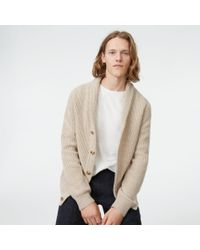 Club Monaco - Natural Plaited Shawl Cardigan for Men - Lyst