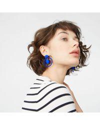 Club Monaco - Blue Wrapped Hoop Earring - Lyst