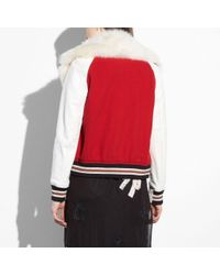 COACH - Red Varsity Jacket - Lyst