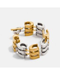 COACH - Metallic Layered Signature Chain Link Bracelet - Lyst