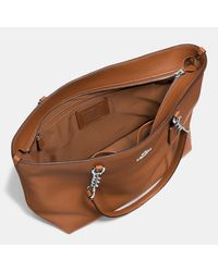 COACH - Brown Sophia Tote In Pebble Leather - Lyst