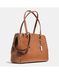 COACH - Brown Stanton Carryall In Crossgrain Leather - Lyst