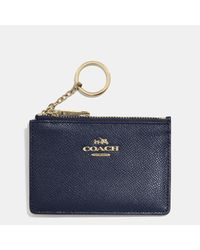 COACH | Blue Mini Skinny In Embossed Textured Leather | Lyst