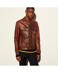 Coach Patched Leather Varsity Jacket in Brown for Men | Lyst