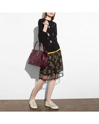 COACH - Red Brooklyn Carryall 34 In Pebble Leather - Lyst