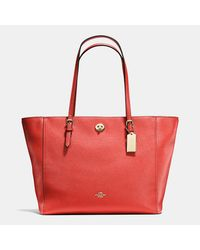 COACH | Red Turnlock Tote In Crossgrain Leather | Lyst