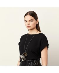 COACH - Metallic Large Studded Tea Rose Necklace - Lyst