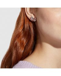 COACH - Multicolor Crystal Bow Stud Earrings - Lyst