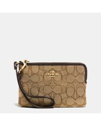 COACH | Brown Corner Zip Wristlet In Signature Fabric | Lyst