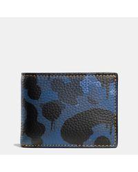 COACH | Blue Slim Billfold Wallet In Wild Beast Camo Print Leather for Men | Lyst