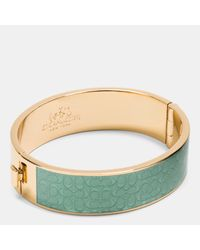 COACH | Metallic Enamel Signature Wide Hinged Bangle | Lyst