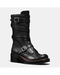 COACH | Black Moto Boot | Lyst