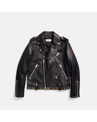 COACH - Black Western Rivets Moto Jacket - Lyst