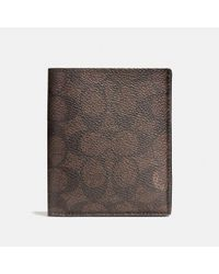 COACH - Brown Slim Coin Wallet In Signature Coated Canvas - Lyst