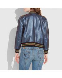 COACH - Blue Shrunken Leather Varsity Jacket - Lyst