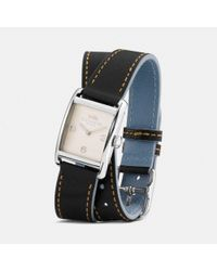 COACH - Black Renwick Leather Double Wrap Strap Watch - Lyst