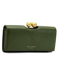Ted Baker Green Josiey Scripted Leather Bobble Matinee Purse