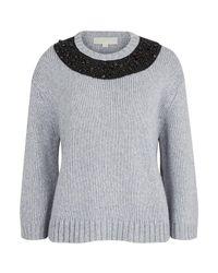 MICHAEL Michael Kors | Gray Women's Beaded Neck Boxy Sweatshirt | Lyst