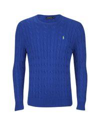 Polo Ralph Lauren - Blue Men's Crew Neck Cable Knit Jumper for Men - Lyst