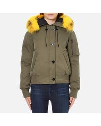 fa3a6b22 Kenzo Women's Removable Yellow Fur Lined Short Parka in Green - Lyst