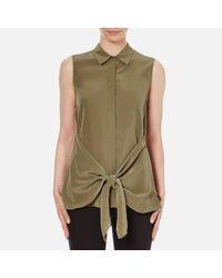 Theory | Blue Women's Zallane Summer Silk Sleeveless Shirt With Tie Front | Lyst