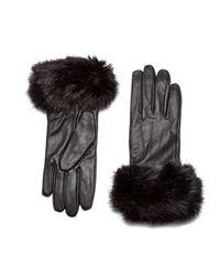 Barbour | Black Women's Faux Fur Trimmed Leather Gloves | Lyst