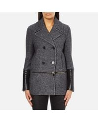 Karl Lagerfeld | Gray Women's Melange Boiled Wool Peacoat | Lyst