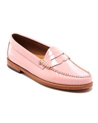 G.H. Bass & Co. - Pink Women's Penny Wheel Patent Leather Loafers - Lyst