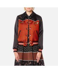 COACH - Brown Women's Shrunken Varsity Jacket - Lyst