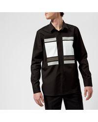 Neil Barrett - Black Cube And Tape Chest Logo Long Sleeve Shirt for Men - Lyst