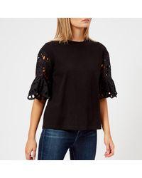See By Chloé - Black See By Chloe Women's Detailed Sleeve Tshirt - Lyst