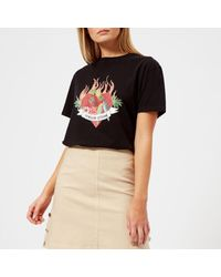 Maison Kitsuné - Black Women's Burning Heart Tshirt - Lyst