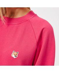 Maison Kitsuné - Pink Women's Fox Head Patch Sweatshirt - Lyst