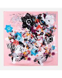 KENZO - Multicolor Women's Multi Icons Iconics Swarm Silk Scarf - Lyst