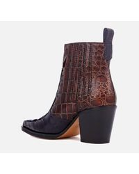 Ganni - Brown Women's Callie Western Heeled Boots - Lyst