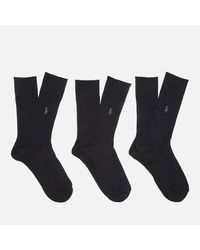 Polo Ralph Lauren - Black Men's Egyptian Cotton Ribbed Socks (3 Pack) for Men - Lyst