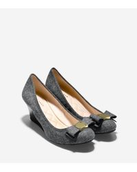 Cole Haan - Gray Tali Grand Bow Wedge (65mm) - Lyst