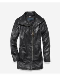 Cole Haan - Black Italian Smooth Lambskin Car Coat - Lyst