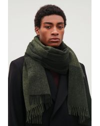 COS - Green Check Wool-cashmere Scarf for Men - Lyst