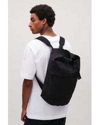 COS - Black Roll-top Nylon Rucksack for Men - Lyst