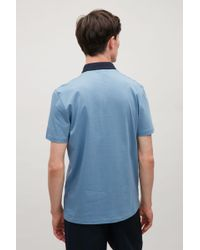 COS - Blue Contrast-collar Polo Shirt for Men - Lyst