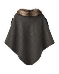Joules Black Hazelwood Tweed Poncho With Faux Fur Collar (z)