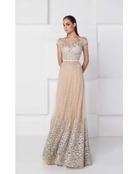 f246e6fbb117 Lyst - Saiid Kobeisy Scoop Neck Lace Evening Gown 2778 in Metallic