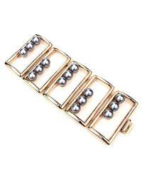 Ben-Amun - Metallic Golden Box Bracelet With Black Pearls - Lyst