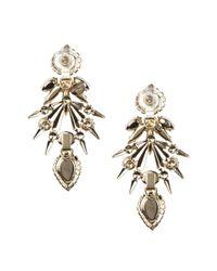 Elizabeth Cole   Metallic Crystal Statement Earrings - Turquoise/Howlite/Gold   Lyst
